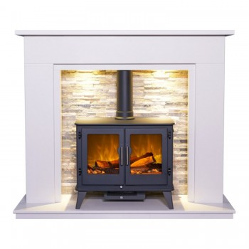 Aurora Santorini Marble Electric Fireplace