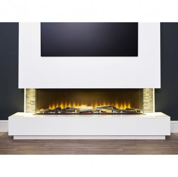 Aurora Alaska XL Marble Base with Inferno 1250 Media Wall Electric Fire