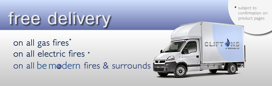 Free Delivery on all gas, electric and Be Modern Fires