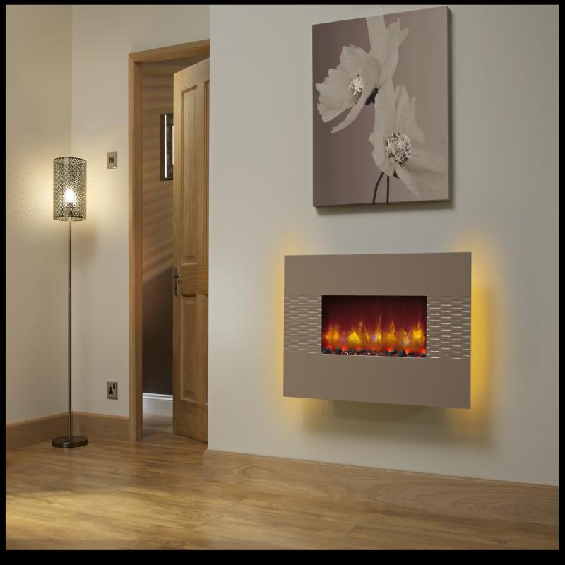 be modern orlando cappuccino finish wall mounted electric fire. Black Bedroom Furniture Sets. Home Design Ideas
